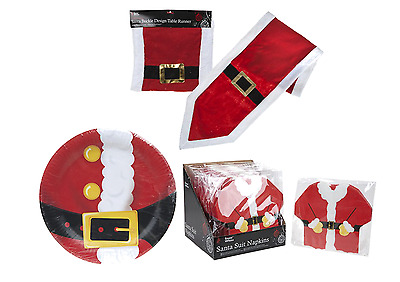 Christmas Santa Suit Buckle Table Ware - Plates, Napkins & Table Runner