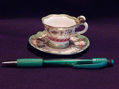 Hand Painted Victorian Mini Cup & Saucer Occupied Japan