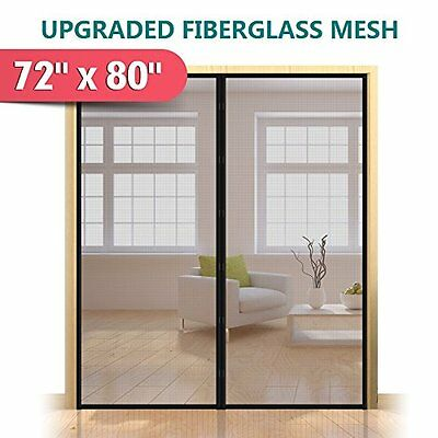 """72""""x80"""" Magnetic Screen Door for French Durable Fiberglass Mesh Curtain Bug Out"""