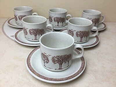 Churchill Stonecast Homespun Trees 6 x Cups & Saucers Superb Condition