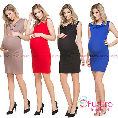 hi!mom Women's Maternity Midi Bodycon Sleeveless Scoop Neck Dress  FM106