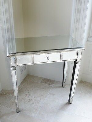 Mirrored Glass 1 Drawer Distressed Console Dressing Display Table