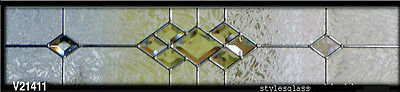 """bevel & obscure At glass 8"""" x 36"""" Leaded glass window"""