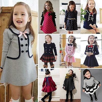 Girls Autumn Party Outfit Baby Kids Winter Long Sleeve Princess Tutu Dress 2-9 Y