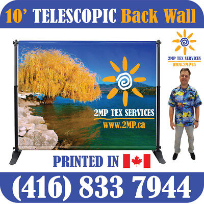 Trade Show 10' Telescopic Step-N-Repeat Pop Up Banner Display + FABRIC PRINT