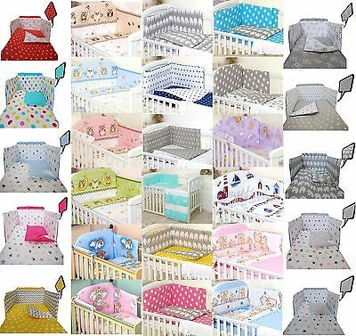 250 VARIATIONS -3 or 5 pcs Baby Bedding Set fit Cot 120x60cm or Cot Bed 140x70