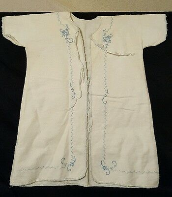 Vintage Hand embroidered Baby Robe Gown Blue white