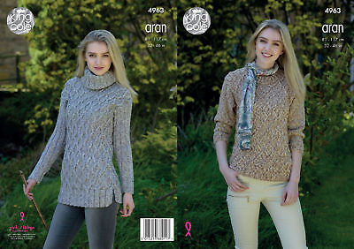 Womens Long or Short Length Sweater Ladies Knitting Pattern King Cole Aran 4963