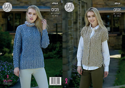 Womens Cabled Gilet Sweater Jumper Ladies Knitting Pattern King Cole Aran 4964