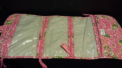 NWOT Vera Bradley Travel Hanging Organizer Pink/Green Paisley Cosmetic Bag