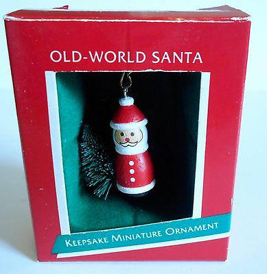 "1989 Hallmark Miniature Ornament ""Old-World Santa"" With Tree MIB"