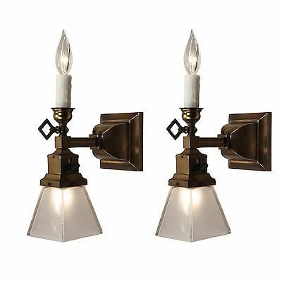 Antique Gas & Electric Sconce Pair with Glass Shades, 19th Century, NSP1265