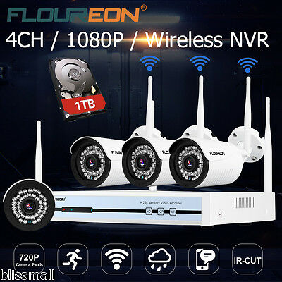 4CH 1080P HD Wireless Wifi DVR WLAN IP Kamera Funk Video Überwachungssystem 1TB