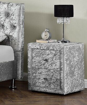 2 Drawers Velvet Linen Fabric Bedside Table Bedroom Nightstand Various Colours