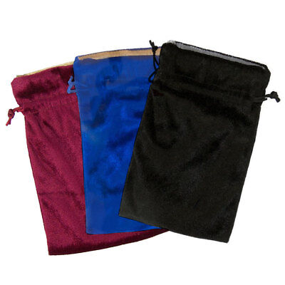 "NEW Velvet Bag Trio 5x7"" Blue, Red, & Black! Bags for Tarot, Runes, Dice Lined"