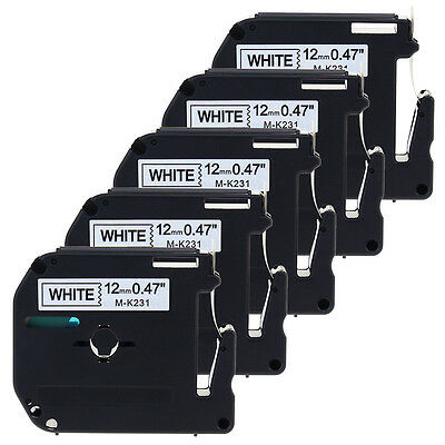 5PACK MK231 Compatible for Brother P-touch 12mm Label Black/White M Tape M-K231