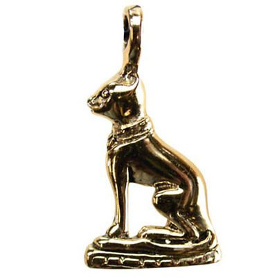 "Bronze Bastet Pendant NEW 1.6"" Egyptian Cat Goddess Bast Amulet  - US Made!"