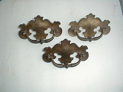 Antique Vintage Chippendale Drawer Pulls Set 3 Large Brass Bail Handle