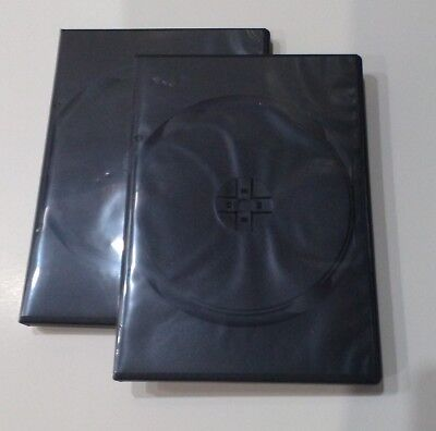 2 pc Premium Black Double Multi hold 2 Discs DVD CD Case, Standard 14mm