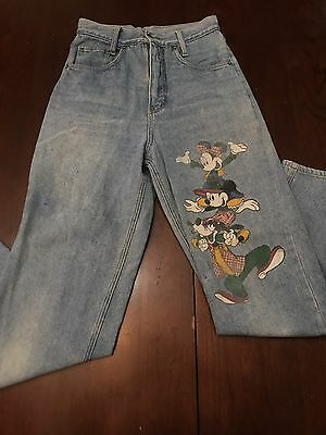 Vtg Mickey Mouse Jeans By Jerry Leigh Size 26 High Waisted