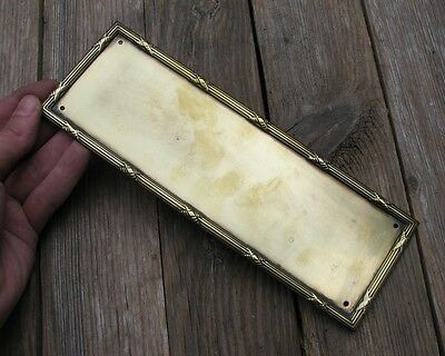 Antique Solid Brass Door Finger Push Plate with Decorative Border