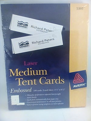 Avery Medium Tent Cards - 5305 - Embossed - 100 Cards Laser - 2 cards/sheet