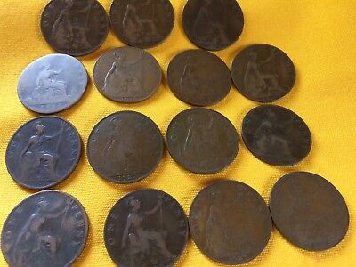 English Large Penny Lot of 15 1888 1896 1899 1901 1903 1911 1917 1927 1937