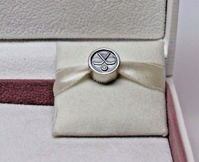 New w/Box Pandora Hockey Puck CZ  Sterling Silver Charm #791203CZ RETIRED NHL