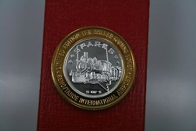 $10 Silver Gaming Token**sparks, Nevada**locomotive**reno-Tahoe Airport