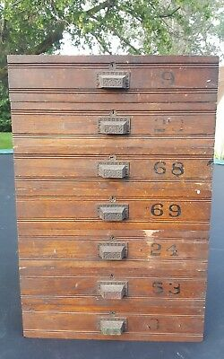 (1) Antique Wood Drawer with Painted Numbers & Ornate Drawer Handle - No cabinet