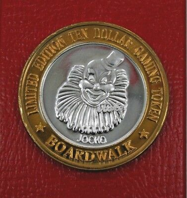 $10 Silver Gaming Token**boardwalk Casino**jocko The Clown**las Vegas Strip