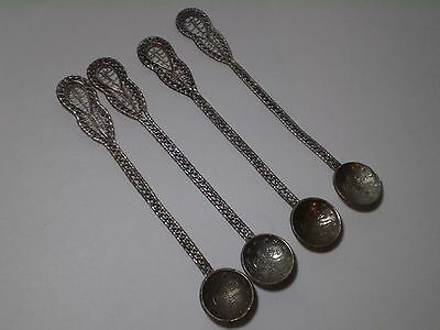 Rare Antique Collectible 4 X Filigree Silver Ottoman Turkish Silver Coin Spoons.