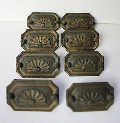 Antique BRASS Drawer Pulls Art Deco c.1920's Complete Set of 8 Original Hardware
