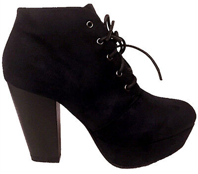 Women's Chunky Heeled Lace Up Front Closed Toe Platform Ankle Shoe booties boots