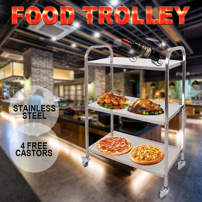 3 Tier Square Tube Stainless Steel Trolley Cart Dining Serving Utility Island