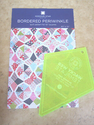 """5"""" Wacky Web Template & Bordered Periwinkle Quilt Pattern Missouri Star Quilt Co"""