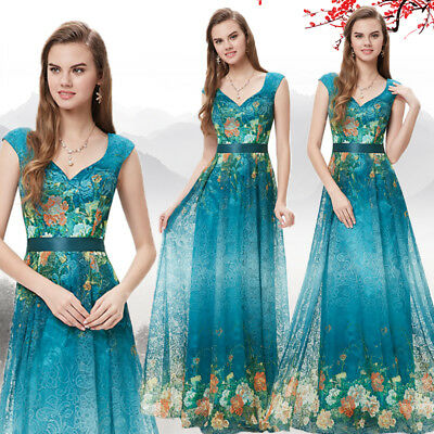 US Women Green Long Floral Formal Evening Party Dresses Cocktail Prom Gown 08386