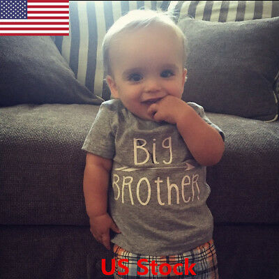 US Newborn Baby Girls Boys cotton blend T-shirts Big Brother Sisther Tops Cloth