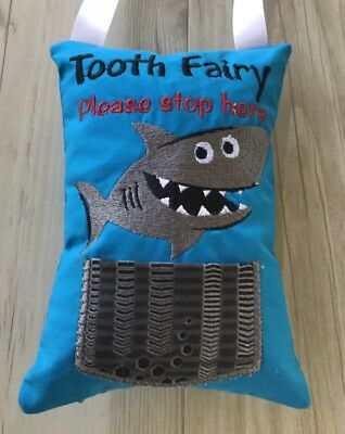 Shark Tooth Fairy Pillow embroidered design Lost Tooth Birthday Gift