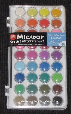Micador 'STYLIST WATERCOLOURS' 36 Water Colours Palette Paint Set Card Making