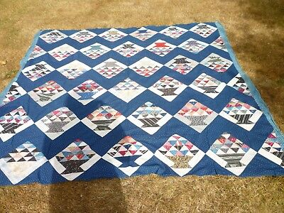 ANTIQUE 1800's QUILT TOP BASKETS INDIGO WITH NEON FABRICS