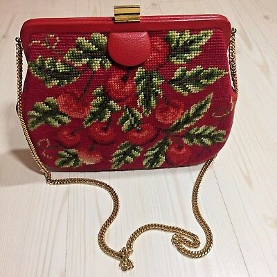 Vintage Tapestry Handbag with Coin Purse cherries