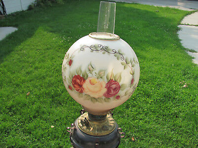"""Antique WROUGHT IRON Oil Floor Lamp """"extends"""" Hand Painted Shade 1895!!!"""