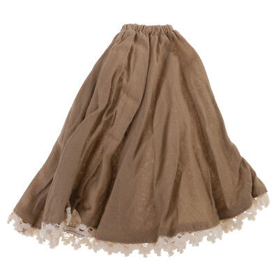 1/6 Cute Princess Long Skirt with Lace Dress for 12 inch Blythe Dolls Khaki