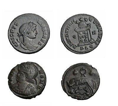 Lot of 2 genuine Roman bronze coins of the Constantine period great details e