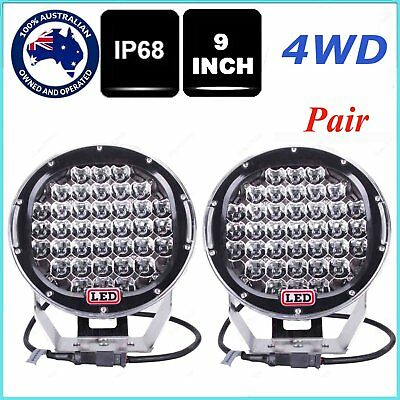 9Inch Pair 185w LED Spot Driving Lights ATV Offroad black round lamp SUV 4WD ON