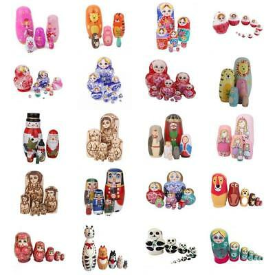 Wooden Russian Nesting Doll Babushka Matryoshka 5/6/7/10 Dolls Set Hand Painted