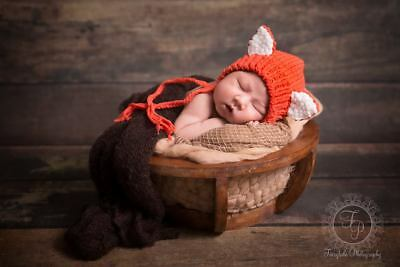 Knitted Newborn Size Fox Bonnet - Photography Photo Prop