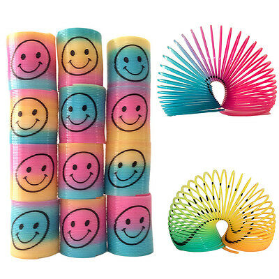 12Pcs Slinky Smiley Face Springs Rainbow Smile Spring Party Bag Fillers Toy LK