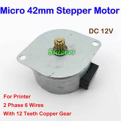 Micro 42mm Stepper Motor With Copper Gear DC 5V 12V 2-Phase 6-Wires For Printer